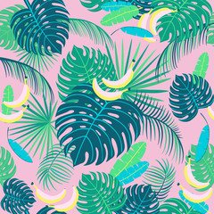 Seamless tropical pattern with palm leaves. Vector  illustration