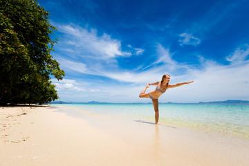 Yoga on tropical thai beach