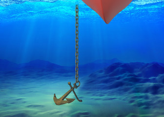 Underwater background with the ship and the anchor