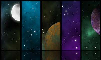 Spacescapes illustration and reflection design background