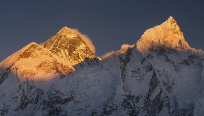 Everest and Nuptse summits at sunset or sunrise