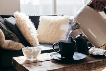Winter tea in warm home