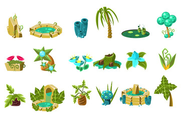 Fabulous flowers, trees, flowers, stones, design elements of fantasy landscape, world of trolls, gnomes vector Illustration