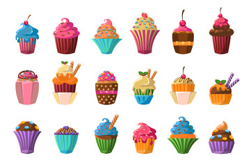 Sweet cupcakes big set, creamy pastries decorated with waffles, candies, strawberry, cherry, chocolate vector illustration