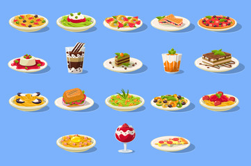 Food big set, Italian cusine dishes pizza, pasta and desserts vector illustration