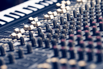 professional recording studio equipment, audio mixing console & midi keyboard synthesizer