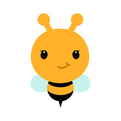 Adorable cartoon bee character in modern flat style.