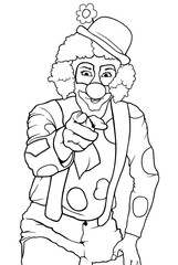 Black and White Happy Clown Pointing - Funny Illustration, Vector