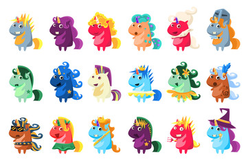 Wall Mural - Magic unicorn big set, colorful unicorns with different emotions vector illustration