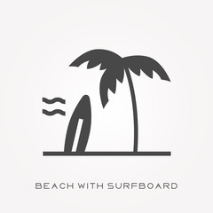 Silhouette icon beach with surfboard