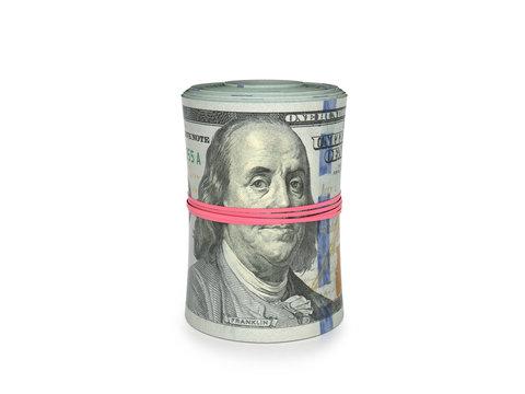 Money roll, roll of bills, roll of dollar bills on a white background. 3D illustration