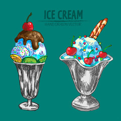 Digital vector detailed line art sundae ice cream