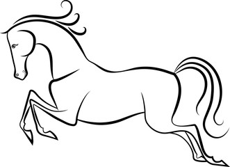 A drawn fairytale horse.