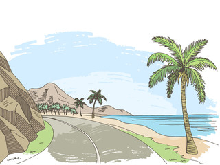 Sea coast road graphic color landscape sketch illustration vector