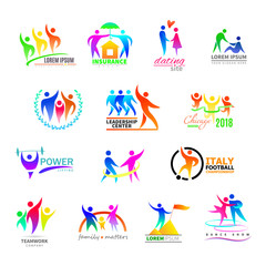 Abstract people icon vector person sign on logo of teamwork in business company or fitness logotype with sportsman winner and silhouette of lovely family illustration set isolated on white background