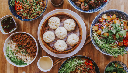 Topshot flatlay nourriture asiatique