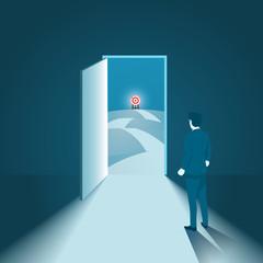 Businessman with Goal Target Opportunity Door, Business Concept vector.