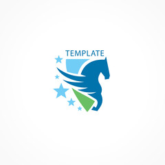 Horse and stars logo pegasus