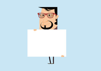 Businessman with a poster. Businessman with a banner. Vector illustration