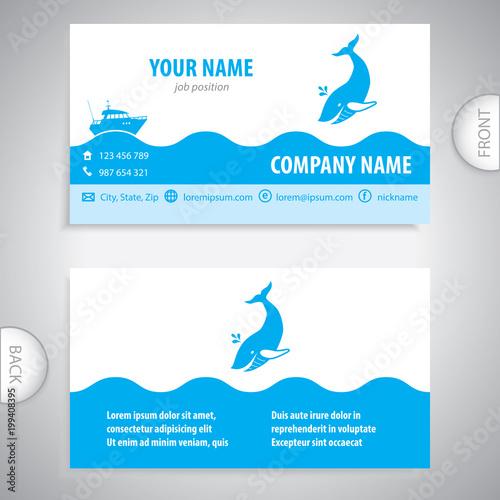 Business Card Big Whale Symbol Sea Company Presentations