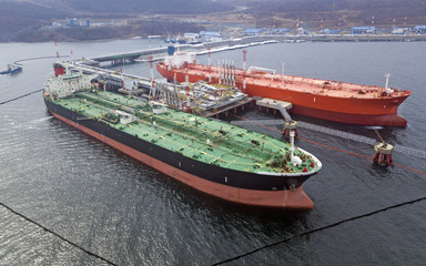 Aerial view of Oil tanker ship loading in port,