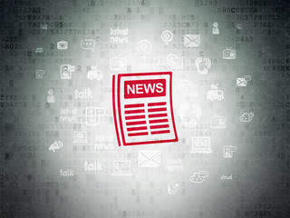 News concept: Painted red Newspaper icon on Digital Data Paper background with  Hand Drawn News Icons