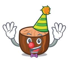 Clown nutmeg mascot cartoon style