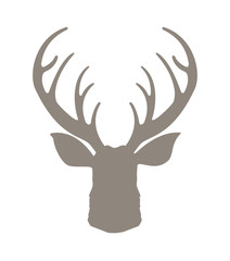 Head deer silhouetted. Reindeer with horns vector illustration. Deer hipster icon. Hand drawn stylized element design