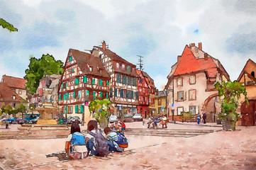 town square in Colmar, France