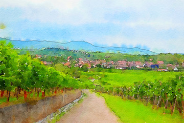 France landscape, Alsace countryside, watercolor style