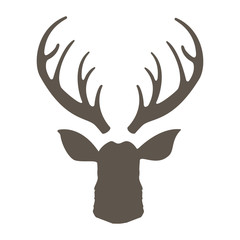 Reindeer with horns vector illustration. Deer hipster icon. Head deer silhouetted. Hand drawn stylized element design.
