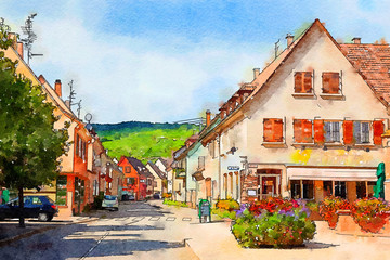 landscape and village in Alsace