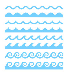 Vector blue wave pattern icons set