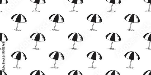 Beach Seamless Pattern Umbrella Isolated Summer Sea Ocean Vector Wallpaper Repeat Background Illustration Doodle Cartoon