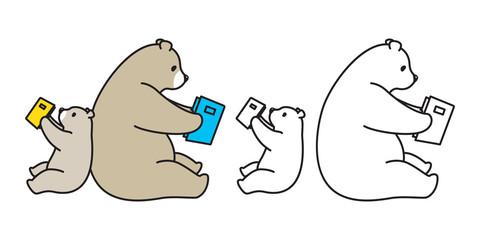 bear vector polar bear logo icon panda character cartoon illustration reading book doodle