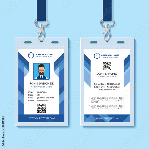 blue employee id card design template stock image and royalty free