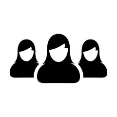 People Icon Vector Group for Female Business Team Management Person Avatar Symbol in Glyph Pictogram illustration