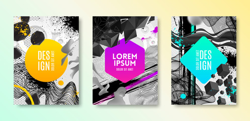 Set of cover design with abstract different shapes. Vector illustration template. Universal abstract design for covers, flyers, banners, greeting card, booklet and brochure.