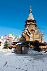 Izmailovo Kremlin with the Church of St. Nicholas, the highest wooden temple of Russia, Moscow.