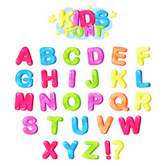 Kids font, multicolored bright letters of the English alphabet and punctuation symbols vector Illustration