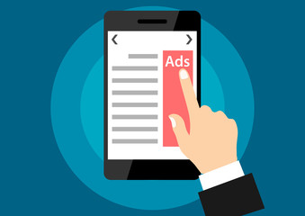 advertisement from website. ads web page from smartphone. click advertise