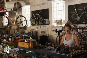 Female mechanic examining bicycle parts