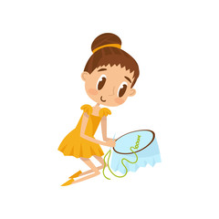 Lovely little girl sitting on the floor and embroidering on canvas, education and child development concept vector Illustration on a white background