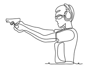Professional policeman special force trained battleground officer shooting with gun glock pistol at the enemy target. Continuous line drawing. Vector monochrome, drawing by lines. sketch