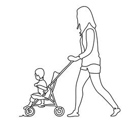 Woman on a walk with a stroller in the park. Continuous line drawing. Vector monochrome, drawing by lines. People in the Park. Family concept. Happiness in the Everyday