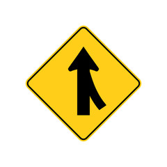 USA traffic road signs. merging traffic entering from the right. vector illustration