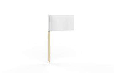 Toothpick Flag Mockup On Isolated White Background, 3D Illustration