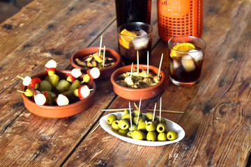 still life of typical spanish and italian snack