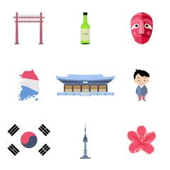 Korean icons set in flat style.