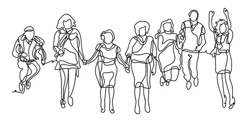 Happy group of people jumping on a white background. The concept of friendship, healthy lifestyle. Continuous line drawing. Vector monochrome, drawing by lines. sketch